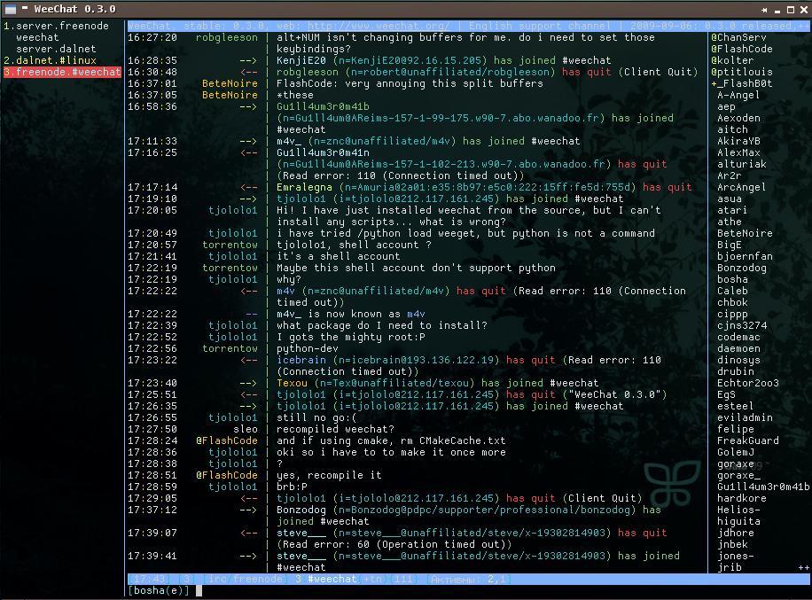 Weechat IRC client screenshot