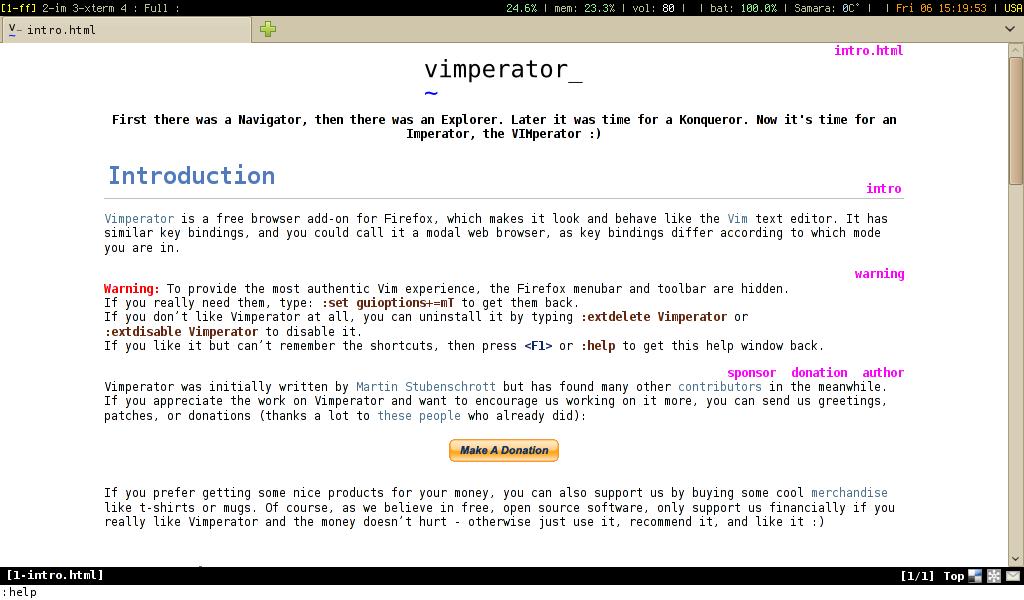 Firefox c включенным дополнением Vimperator