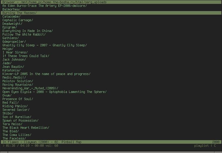 Cmus - Режим обзора файлов на жёстком диске