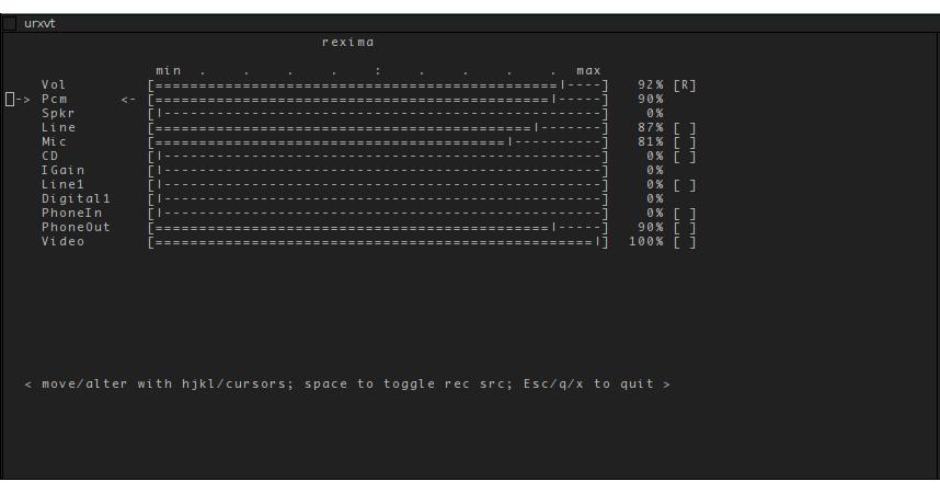 Rexima - консольный микшер для Linux