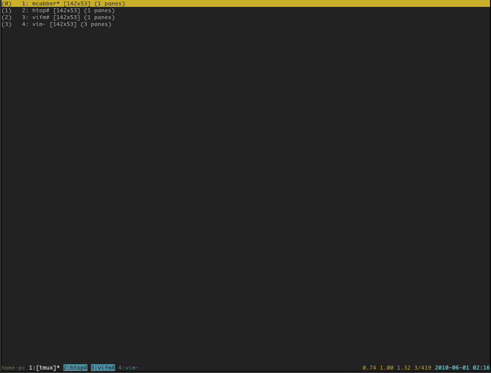 Скриншот Tmux
