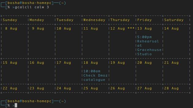 GCalcli отображение расписания на 3 недели