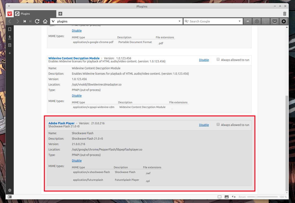 Проверяем что Vivaldi обнаружил Adobe Flash Player plugin под Linux