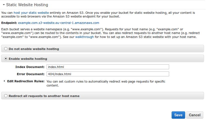 Настройка переадресации S3 бакета с www, на без www