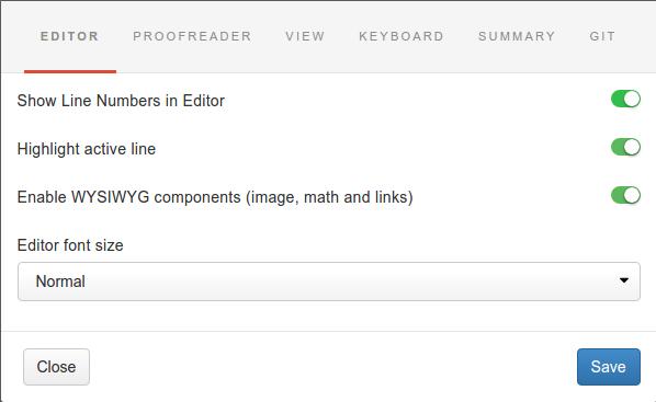 Gitbook - настройки редактора