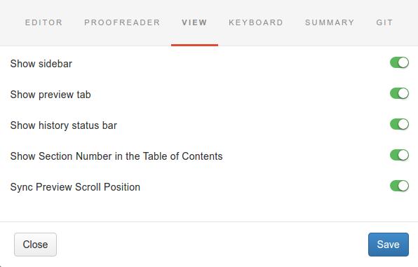 Gitbook - настройки предпросмотра