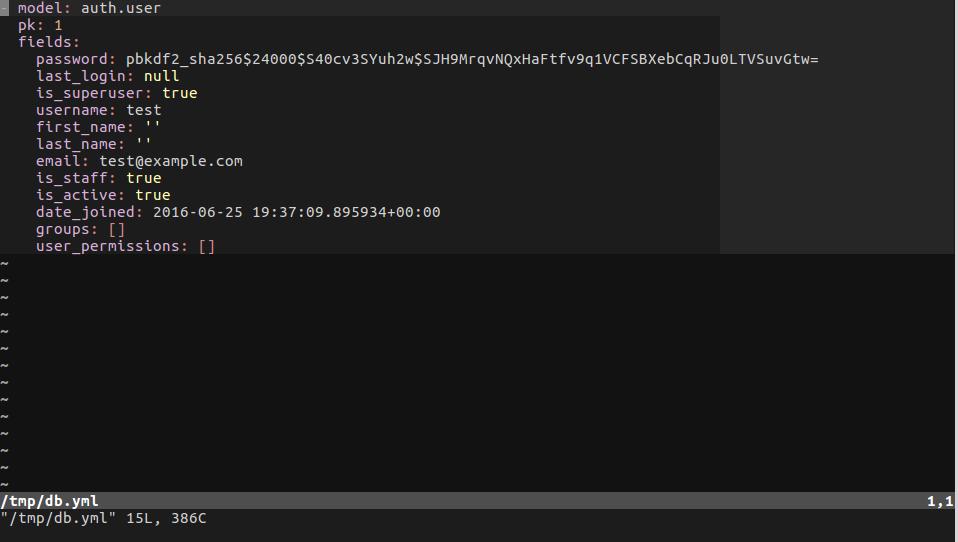 Django - результат выполнения команды dumpdata в формате yaml