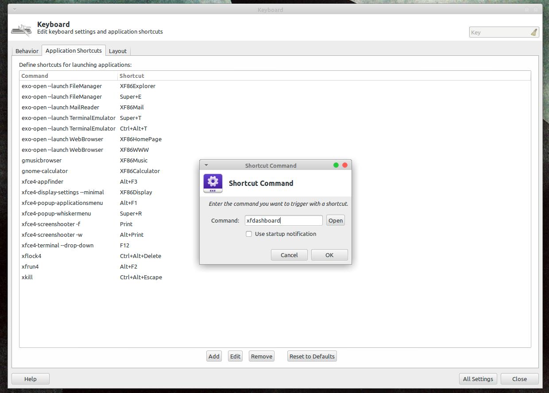 Окно настроек добавления клавиатурного сочетания Xfce