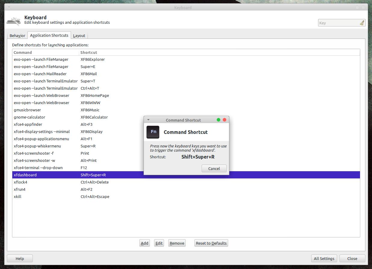 Окно настроек ввода клавиатурной комбинации Xfce