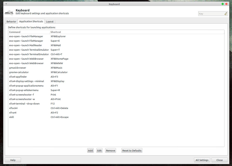Окно настроек клавиатурных сочетаний Xfce