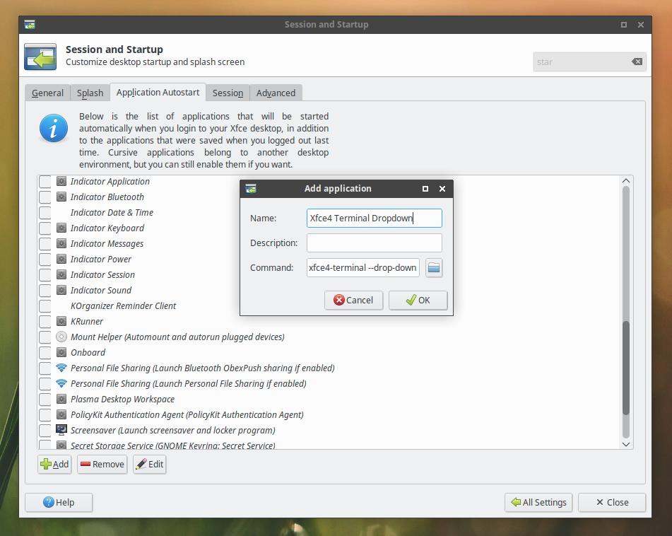 Xfce4 настройка автозапуска xfce4-terminal в режиме выпадающей консоли