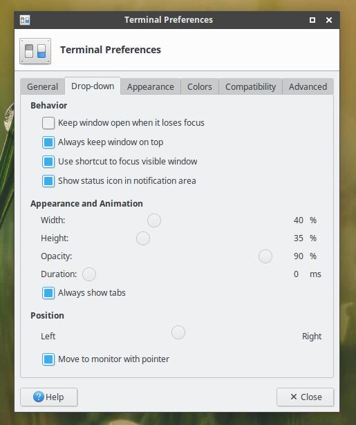 xfce4-terminal в режиме выпадающей консоли - настройки